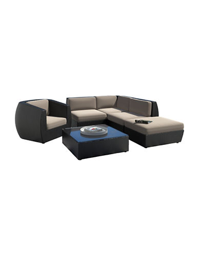 Corliving Seattle Curved 6-Piece Sectional with Chaise Lounge and Chair Patio Set-GREY-One Size