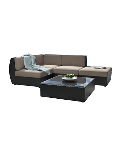 Corliving Seattle Five-Piece Curved Sectional with Chaise Lounge Patio Set-GREY-One Size