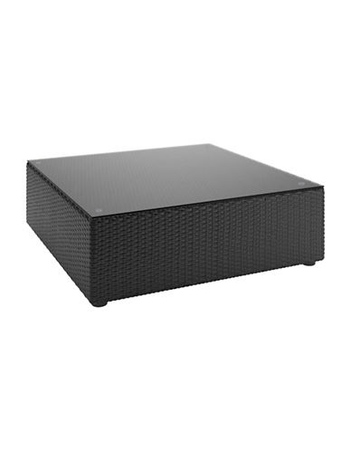 Corliving Seattle Textured Weave Patio Coffee Table-BLACK-One Size