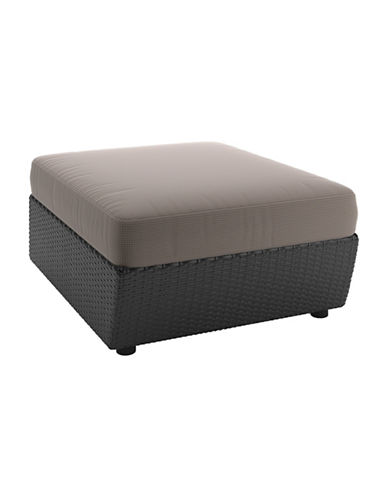 Corliving Textured Weave Patio Ottoman-GREY-One Size