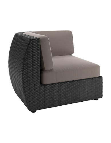 Corliving Textured Weave Patio Corner Seat-GREY-One Size