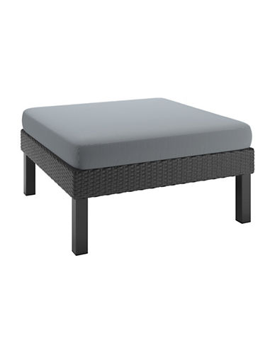 Corliving Patio Textured Weave Ottoman-GREY-One Size