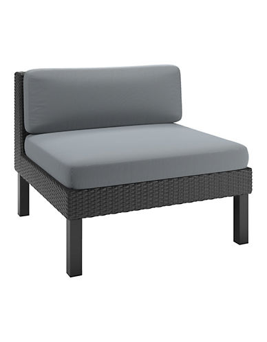 Corliving Textured Weave Patio Middle Seat-GREY-One Size