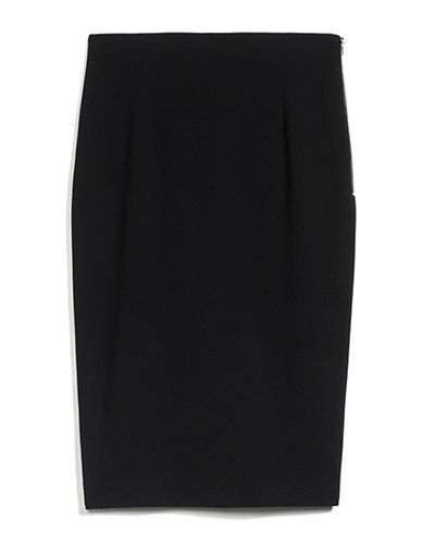 Judith & Charles Solid Pencil Skirt-BLACK-0
