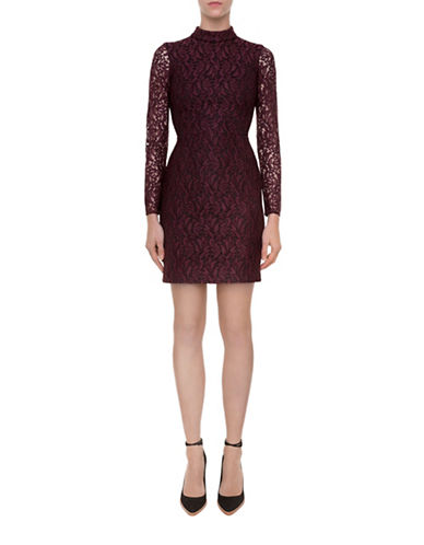 Judith & Charles Phase Lace Long-Sleeved Dress-RED-12