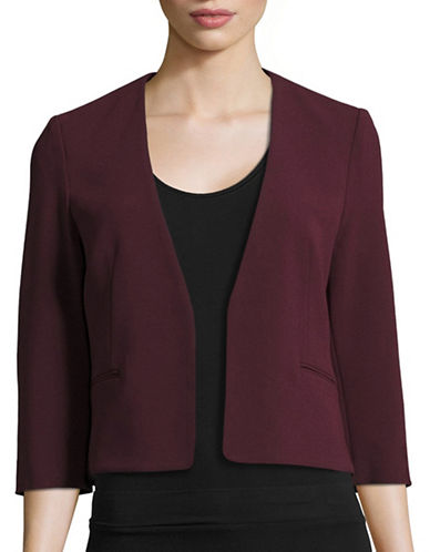 Judith & Charles Crepe Open Front Jacket-MAROON-12