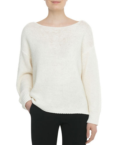 Judith & Charles Boat Neck Textured Cotton Sweater-WHITE-Large