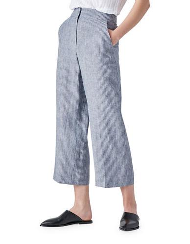 Judith & Charles Karin Linen-Blend Crop Pants-BLUE-14