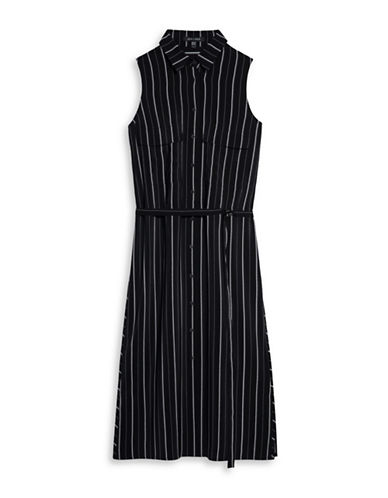 Judith & Charles Alessia Silk Shirt Dress-BLACK STRIPE-0