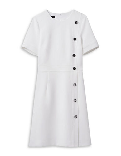 Judith & Charles Buttoned Short-Sleeved Dress-OFF WHITE-2