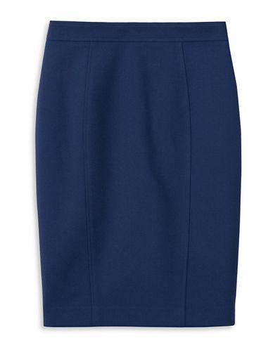 Judith & Charles Stretch Virgin Wool Pencil Skirt-DEEP IRIS-12