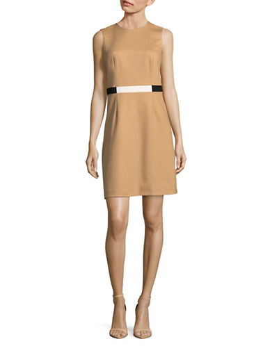 Judith & Charles Belted Shift Dress-BEIGE-2