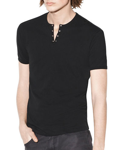 John Varvatos Star U.S.A. Cotton Eyelet Crew Neck Tee-BLACK-Small