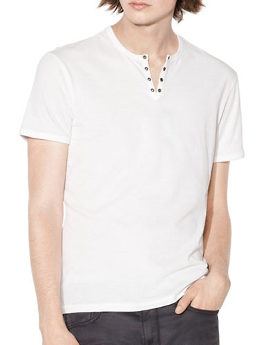John Varvatos Star U.S.A. Cotton Eyelet Crew Neck Tee-WHITE-Medium