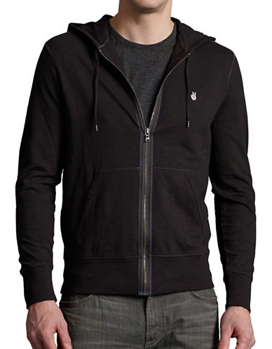 John Varvatos Star U.S.A. Long Sleeve Zip Front Hoodie-BLACK-X-Large 89236473_BLACK_X-Large