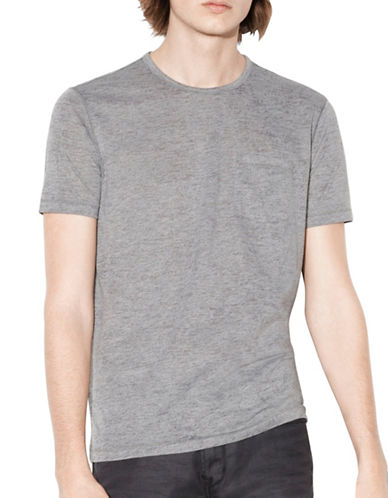John Varvatos Star U.S.A. Burnout Crew Neck Tee-GREY-Small
