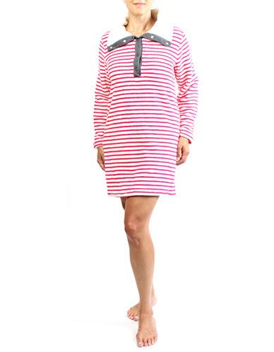 Claudel Striped Lounge Dress-RED-Medium plus size,  plus size fashion plus size appare