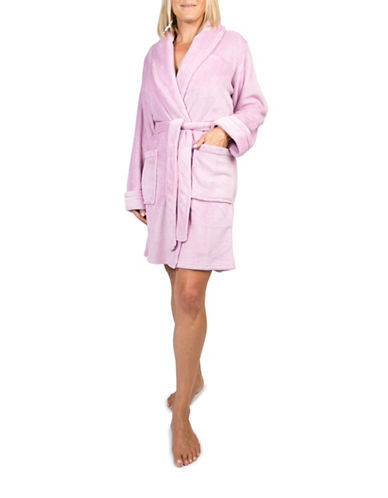 Claudel Solid Short Belted Robe-LILAC-X-Large