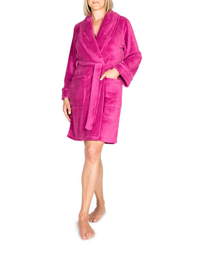 Claudel Solid Short Belted Robe-RASPBERRY-X-Large