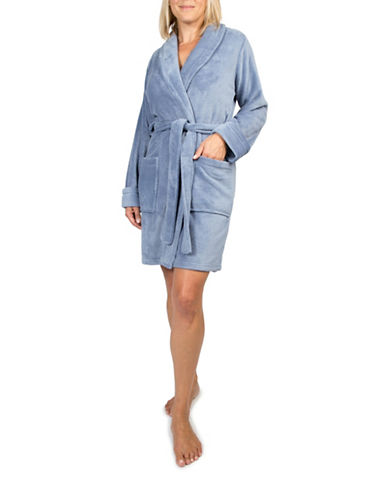 Claudel Solid Short Belted Robe-BLUE-X-Large