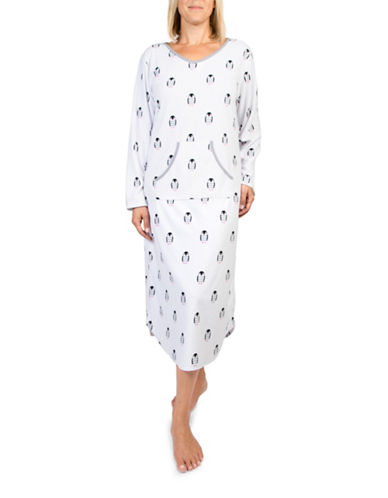 Claudel Penguins Long Sleeve Nightgown-WHITE-Small