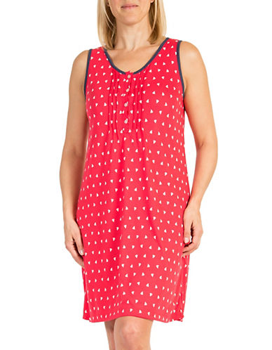 Claudel Plus Sleeveless Button Front Nightgown-RED-Large plus size,  plus size fashion plus size appare