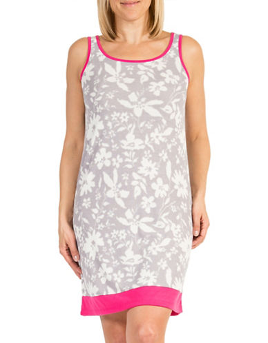 Claudel Floral Ringer Short Sleeveless Gown-GREY/PINK-Large