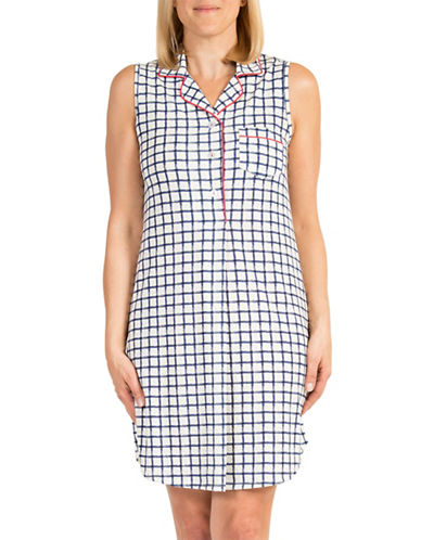Claudel Sleeveless Printed Sleep Shirt Dress-NAVY-Small