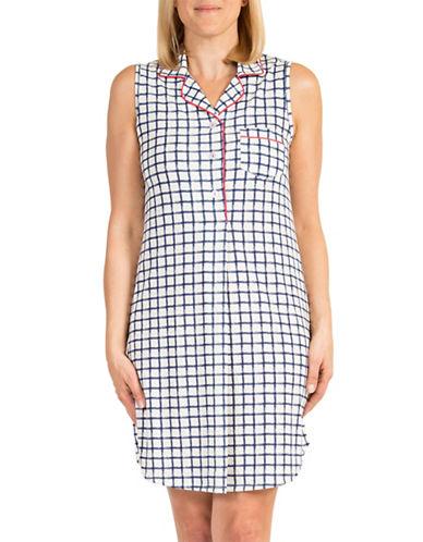 Claudel Sleeveless Printed Sleep Shirt Dress-NAVY-Medium