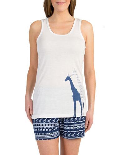 Midnight Maddie Plus Two-Piece Giraffe Pyjama Set-NAVY-1X