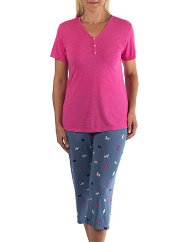 Claudel Two-Piece Cat Print PJ Set-PINK-Small