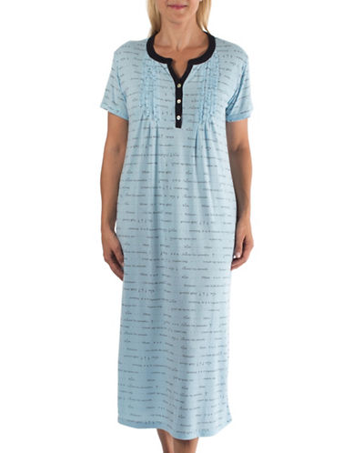 Claudel Printed Sleeveless Nightgown-BLUE-Small