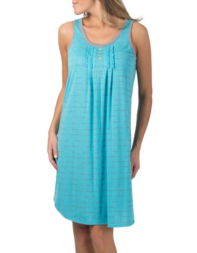 Claudel Script Print Sleeveless Henley Nightgown-BLUE-Small