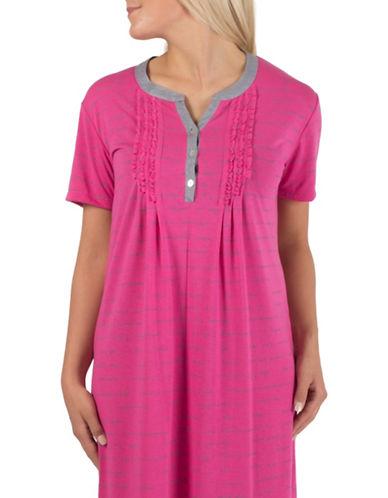 Claudel Henley Ruffled Sleep Shirt-PINK-Small