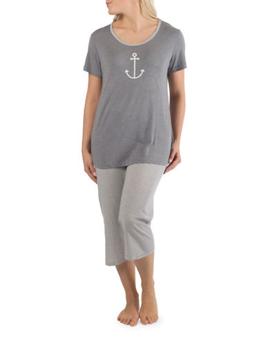 Claudel Anchor Two-Piece Capri Pyjama Set-GREY-Large