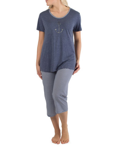 Claudel Anchor Two-Piece Capri Pyjama Set-BLUE-Small