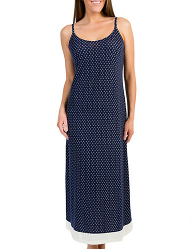 Claudel Printed Long Spaghetti Strap Nightgown-NAVY-Medium