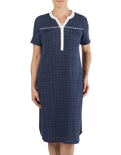 Claudel Printed Short Sleeve Nightgown-NAVY-Small