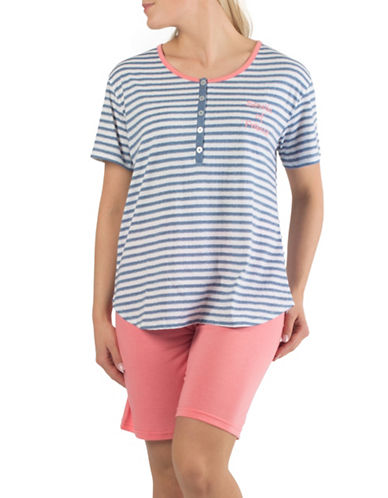 Claudel Two-Piece Striped Tee and Bermuda Shorts Pyjama Set-BLUE-Medium