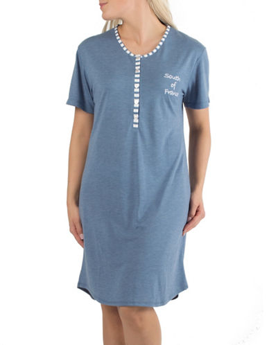 Claudel South of France Short Henley Nightgown-BLUE-Small