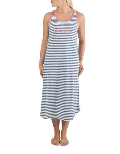 Claudel St-Tropez Long Sleeveless Nightgown-BLUE-Small