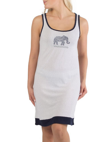 Claudel Dotted Elephant Short Sleeveless Nightgown-WHITE-Small