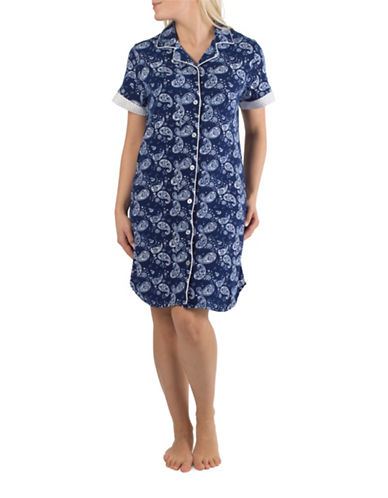 Claudel Paisley Sleep Shirt-BLUE-Small