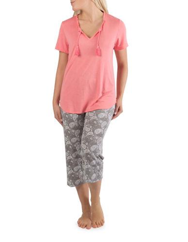 Claudel Tassel Top and Paisley Capri Pyjama Set-CORAL-Small