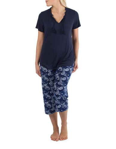 Claudel Tassel Top and Paisley Capri Pyjama Set-BLUE-Medium