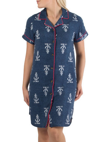 Claudel Plus Anchor Short Sleeve Sleep Shirt-BLUE-Small