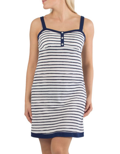 Claudel Striped Short Spaghetti Strap Nightgown-NAVY-Medium