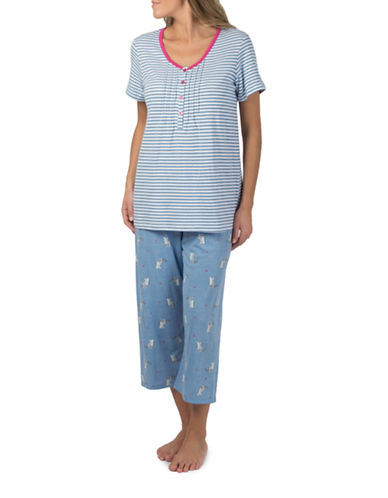 Claudel Cats and Stripes Two-Piece Capri Pyjama Set-BLUE-X-Small