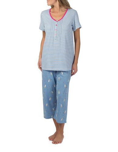 Claudel Plus Cats and Stripes Two-Piece Capri Pyjama Set-BLUE-2X
