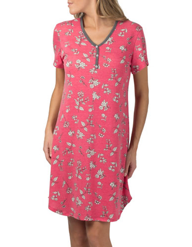 Claudel Floral Short Sleeve Henley Nightgown-PINK-X-Small